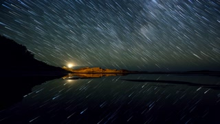 Primal Earth Images Castlepoint Star Trails Reflections 4 K Stock