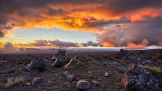 Primal Earth Images Fire Sunrise Desert 4 K Stock