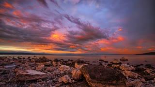 Primal Earth Images Lake Taupo Dramatic Sunrise 4 K Stock