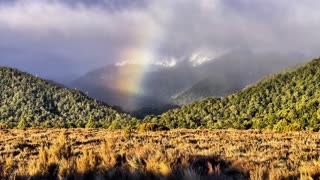 Primal Earth Images Mountains Rainbow 4 K Stock