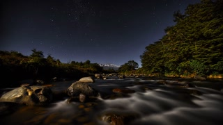 Primal Earth Images Whakapapa River Moon Stars 4 K Stock
