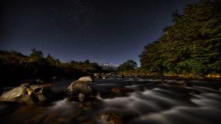 Primal Earth Images Whakapapa River Moon Stars 4 K Stock