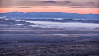 Sunrise and Morning Fog over Desert Valleys Timelapse