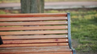 Blonde woman girl outside. Goes into the frame, sits on a wooden bench. He experiences stress, a headache. Sad, dissatisfied. Social problems. Frontal view