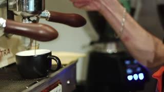coffee making process espresso cup and coffee machine bartender make morning espresso