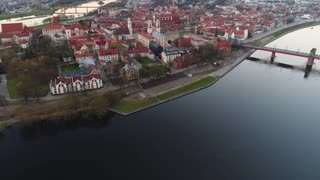 aerial view of old town of city at evenenig