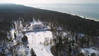 flight over big old manor house at winter