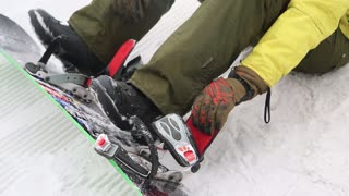 close up to put a snowboard in the winter