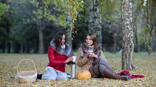 two young women drinking tea from a thermos in autumn Park sitting on a blanket