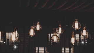 vintage edison lamps in the restaurant