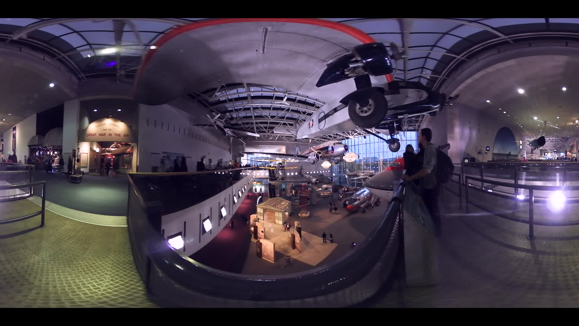 360 Degree Video Class 20th Century Plane in Smithsonian Air And Space Museum Hanger. 2:1 ratio for Virtual Reality Apps.