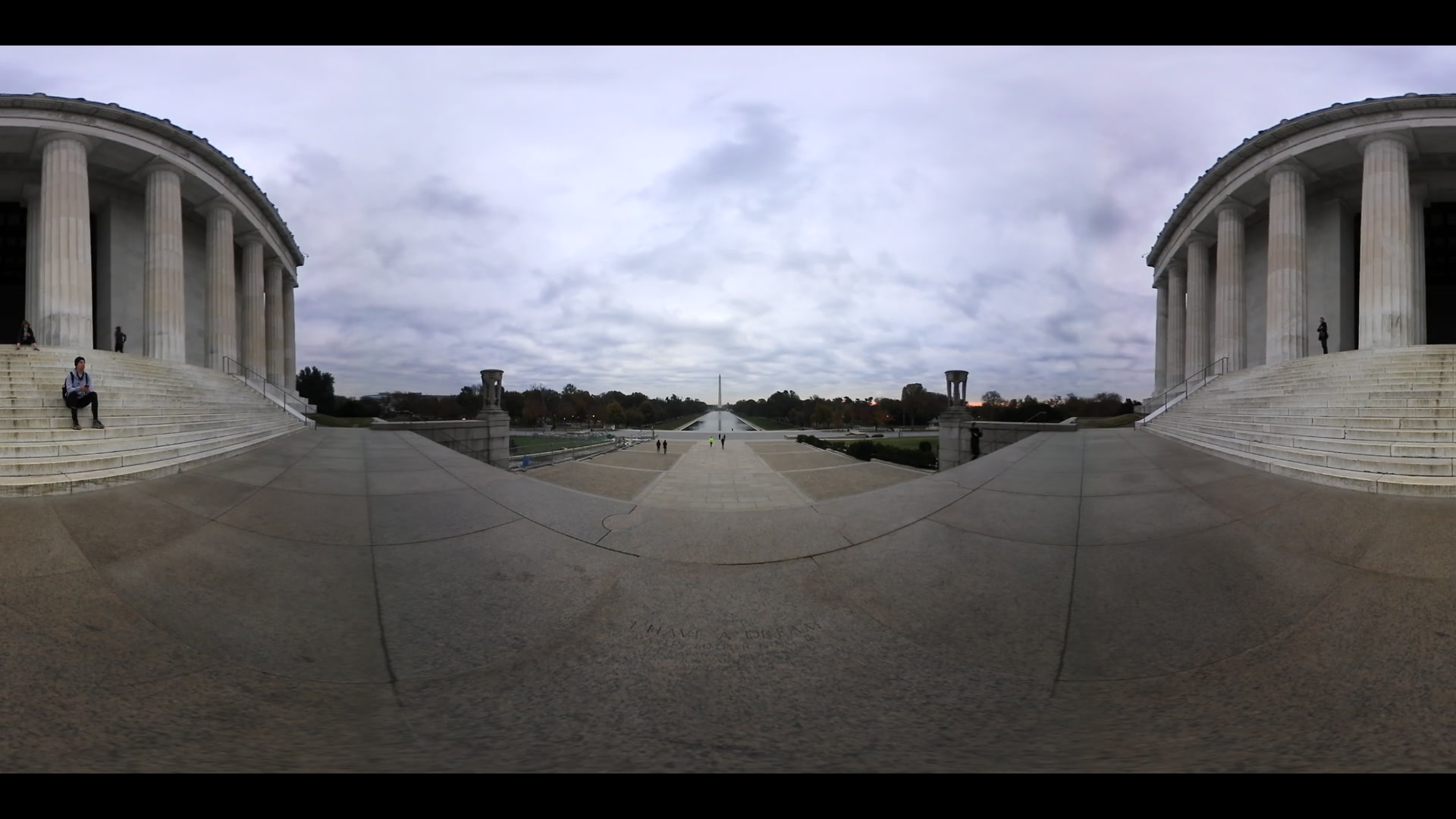 360 VR Martin Luther King I Have A Dream Speech Engraving On Lincoln Memorial Steps