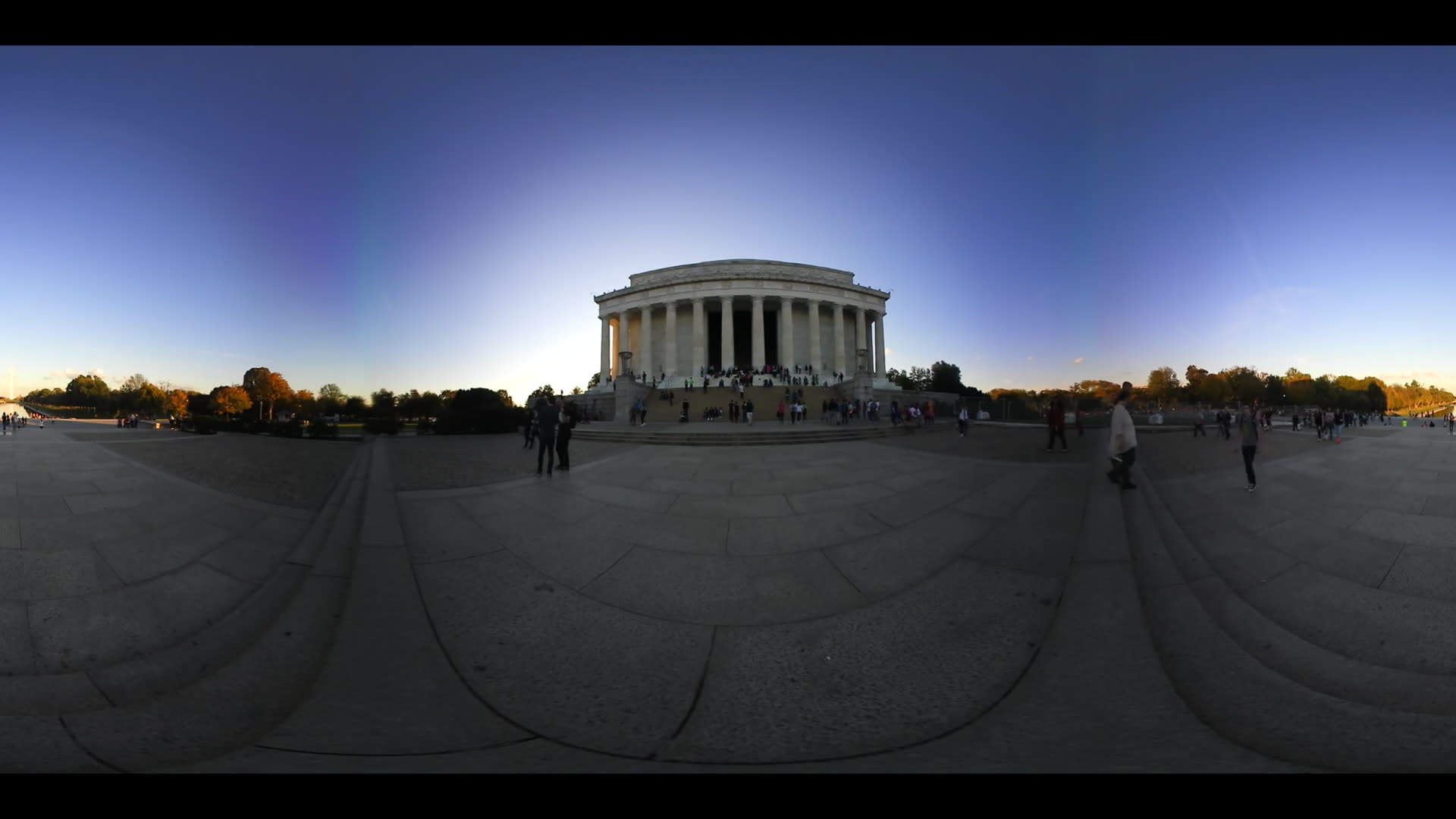 360 VR Video Lincoln Memorial And Washington Monument At Sunset National Mall