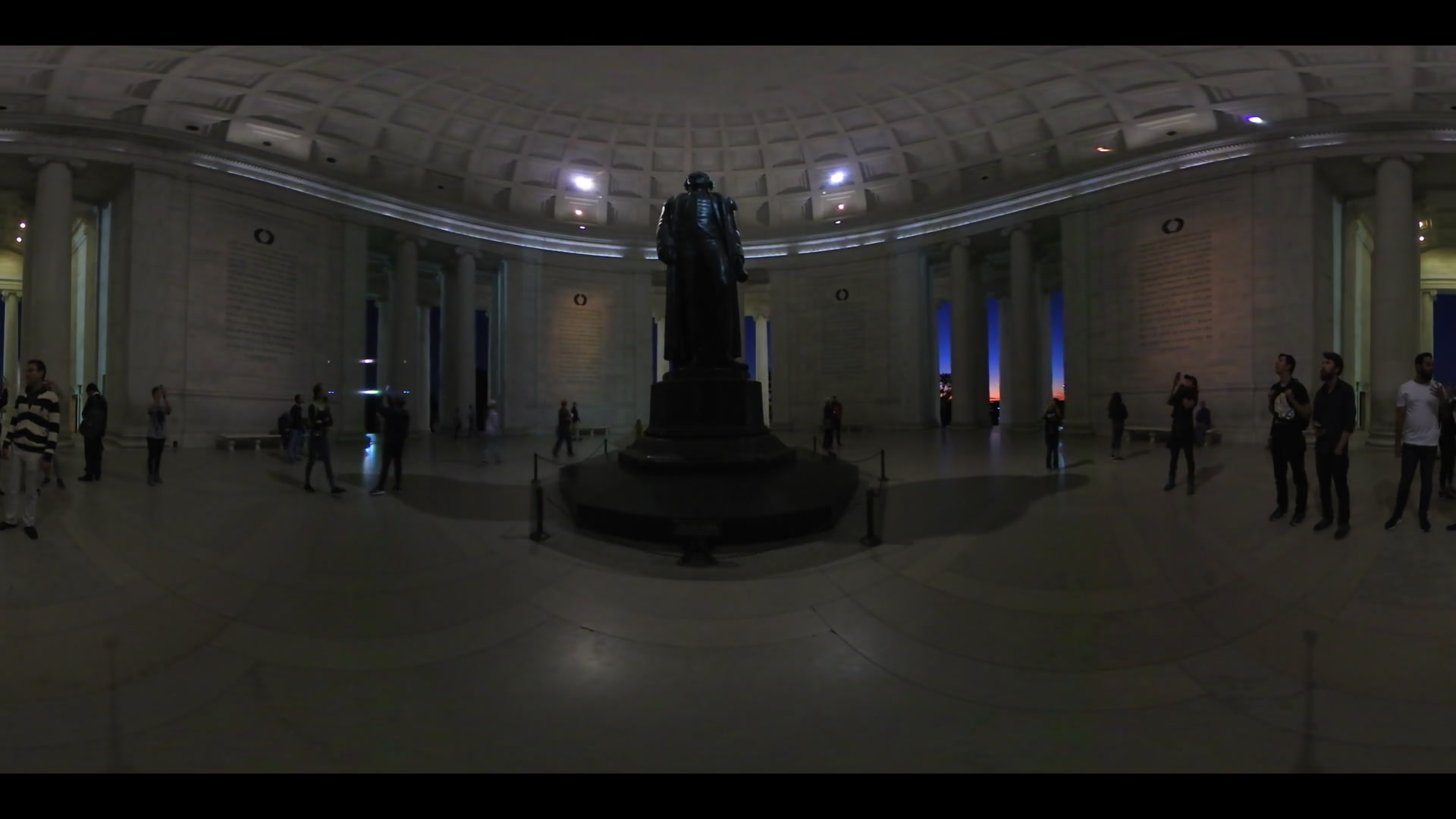 360 VR Virtual Reality Thomas Jefferson Statue in Jefferson Memorial At Night