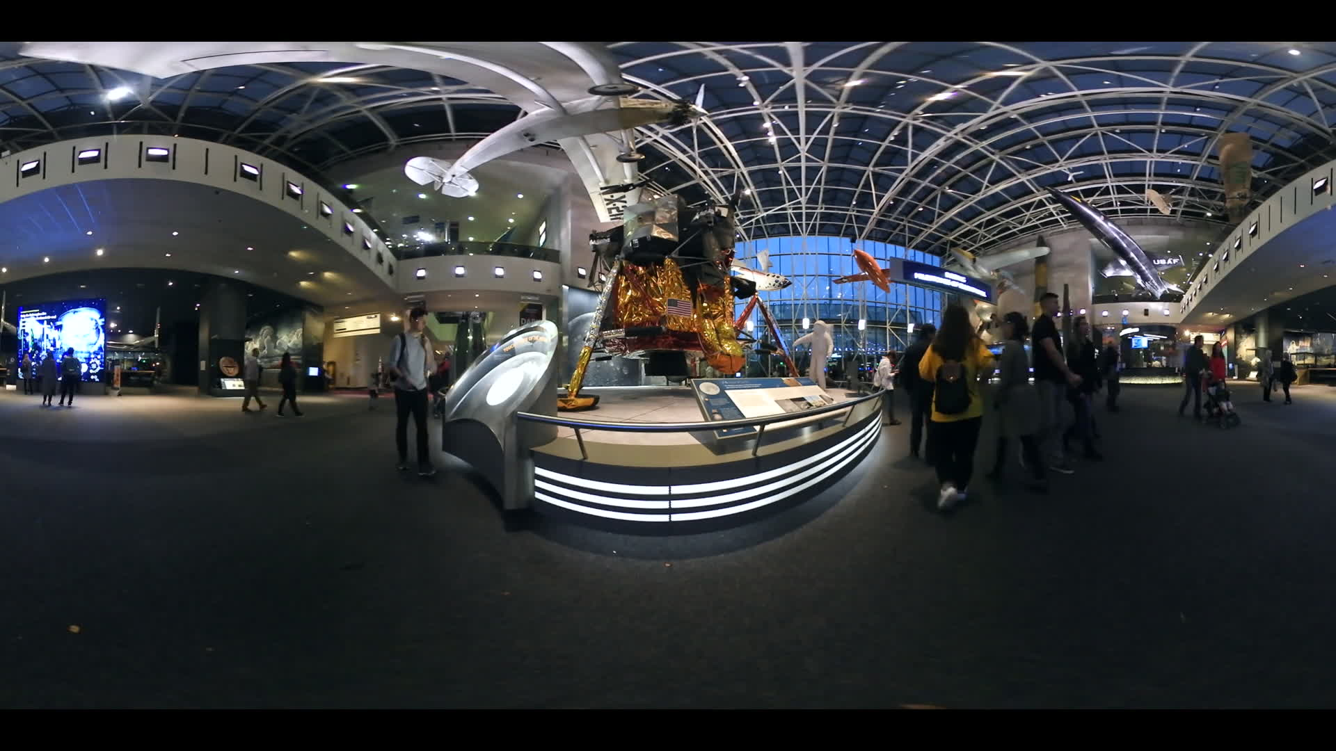 Moon Landing 360 VR Video Smithsonian Air And Space Museum at Night Washington DC
