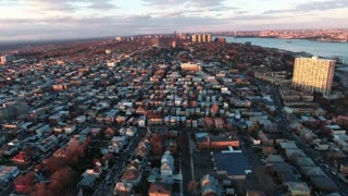 Cliffside Park NJ Flyover Buildings During Sunset With Some Trees