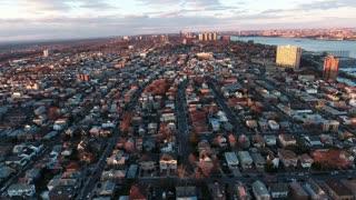 Cliffside Park NJ Flyover Buildings During Sunset