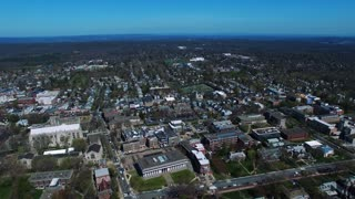 Fly Backwards View Of Buildings In Princeton New Jersey