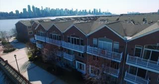 Fly Forward Over Condos On River Road NJ Hudson County, Bergen County