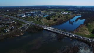 Flyover Over Water & Bridge In Princeton New Jersey