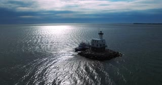 Long Beach LightHouse With Boat Slightly Rotating View