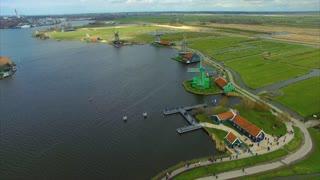 Netherlands Windmill Village Flying Towards Multiple Windmills