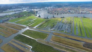 Netherlands Windmill Village, Flyover Fields Viewing Town and Water