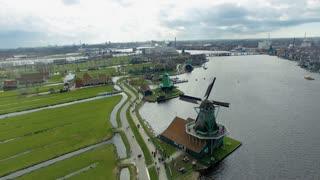 Netherlands Windmill Village Flyover, Viewing Windmills