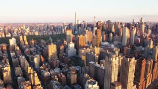 NYC Aerial Shot, Fly Backwards Shot Of Upper Westside, Viewing Central Park