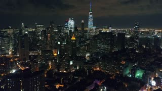 Aerial Footage of Chinatown and One World Trade Center at Night, NYC