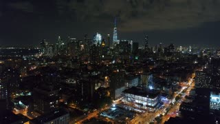 Aerial Footage of Downtown Manhattan, NYC at Night