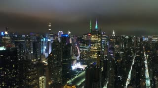 Aerial Footage of Midtown New York City at Night