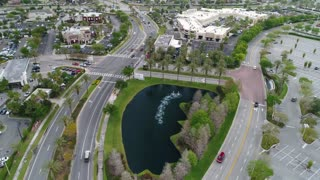 Aerial Footage of Roads and Mall Parking Lot in Orlando, FL