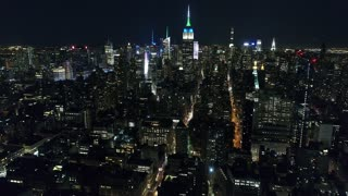 Aerial Footage of the Empire State Building at Night, NYC