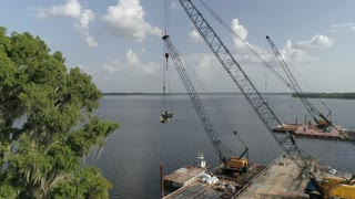 Aerial of a Waterway Bridge Under Construction in Orlando, Florida