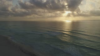Aerial of Beautiful Beach Sunset, Cancun, Mexico