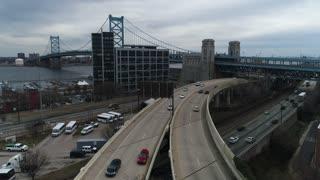 Aerial of Benjamin Franklin Bridge, Philadelphia, Pennsylvania