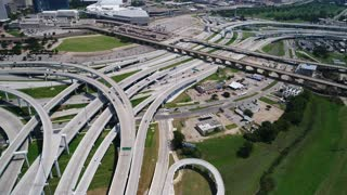 Aerial of Busy Highway in Downtown Dallas, Texas