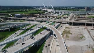 Aerial of Busy Highway Near Margaret McDermott Bridge, Dallas, Texas