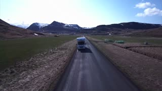 Aerial of Camper on Roadway in Iceland