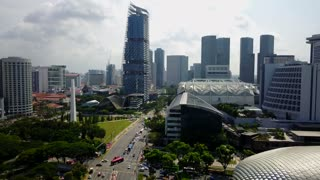 Aerial of Civilian War Memorial, JW Marriott and Suntec, Singapore