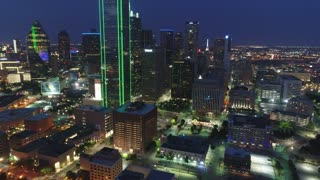 Aerial of Downtown Dallas, Texas at Night