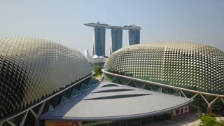 Aerial of Esplanade Theatre and Marina Bay Sands, Singapore