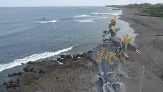 Aerial of Ganesh Statue, Echo Beach, Bali, Indonesia