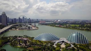 Aerial of Gardens By The Bay and Flower Dome and Skyline, Singapore