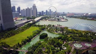 Aerial of Gardens By The Bay and Singapore Flyer, Marina Reservoir, Singapore