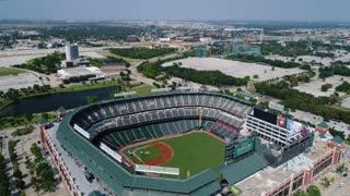 Aerial of Globe Life Park, Rangers Baseball, Arlington Texas
