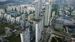 Aerial of High Rises Near Songdo Central Park, Incheon, South Korea