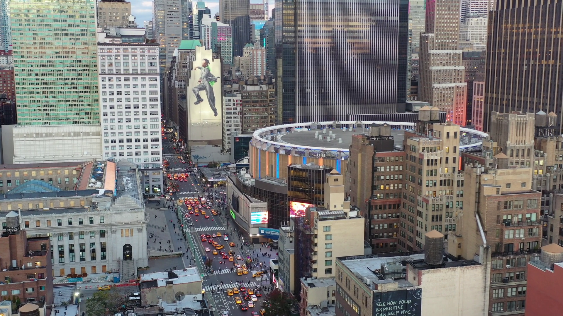 Aerial of Madison Square Garden, Midtown West, NYC Stock Video Footage ...