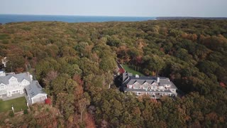 Aerial of Mansion Estate Near the Water, Long Island